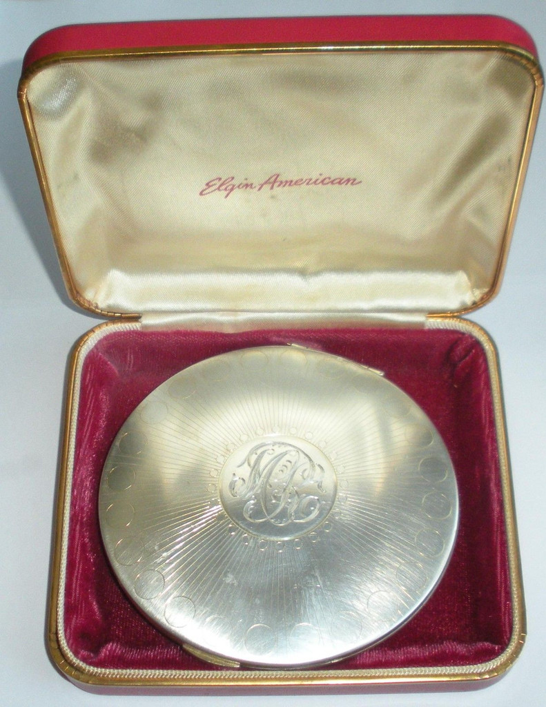 Viintage 4 Inch Heavy 179.5 Gr Sterling Silver Ladies Compact Elgin American In Box