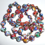 30 Inch Vintage Italian Millefiori Fused Art Glass 7m 15m Bead Necklace Italy