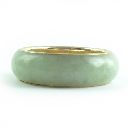 14k Gold Jade Jadeite Chinese Fu Lu Shou Bangle Ring Mens ...