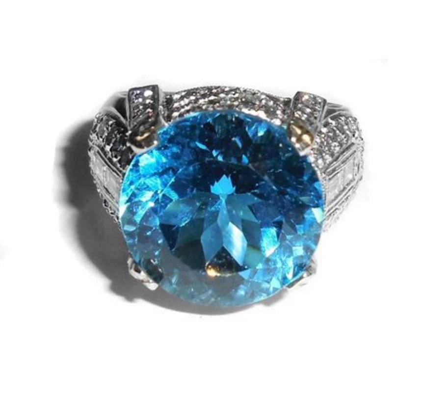 Big Heavy Platinum 11.45 Ct Diamond Blue Topaz Mens Womens Ring Size 6.75