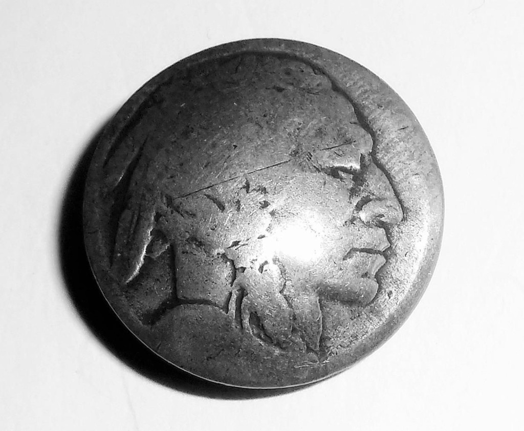 Antique 900 Coin Silver Buffalo Indian Head Nickel Button For Coin Jewelry Fob Pendant Charm