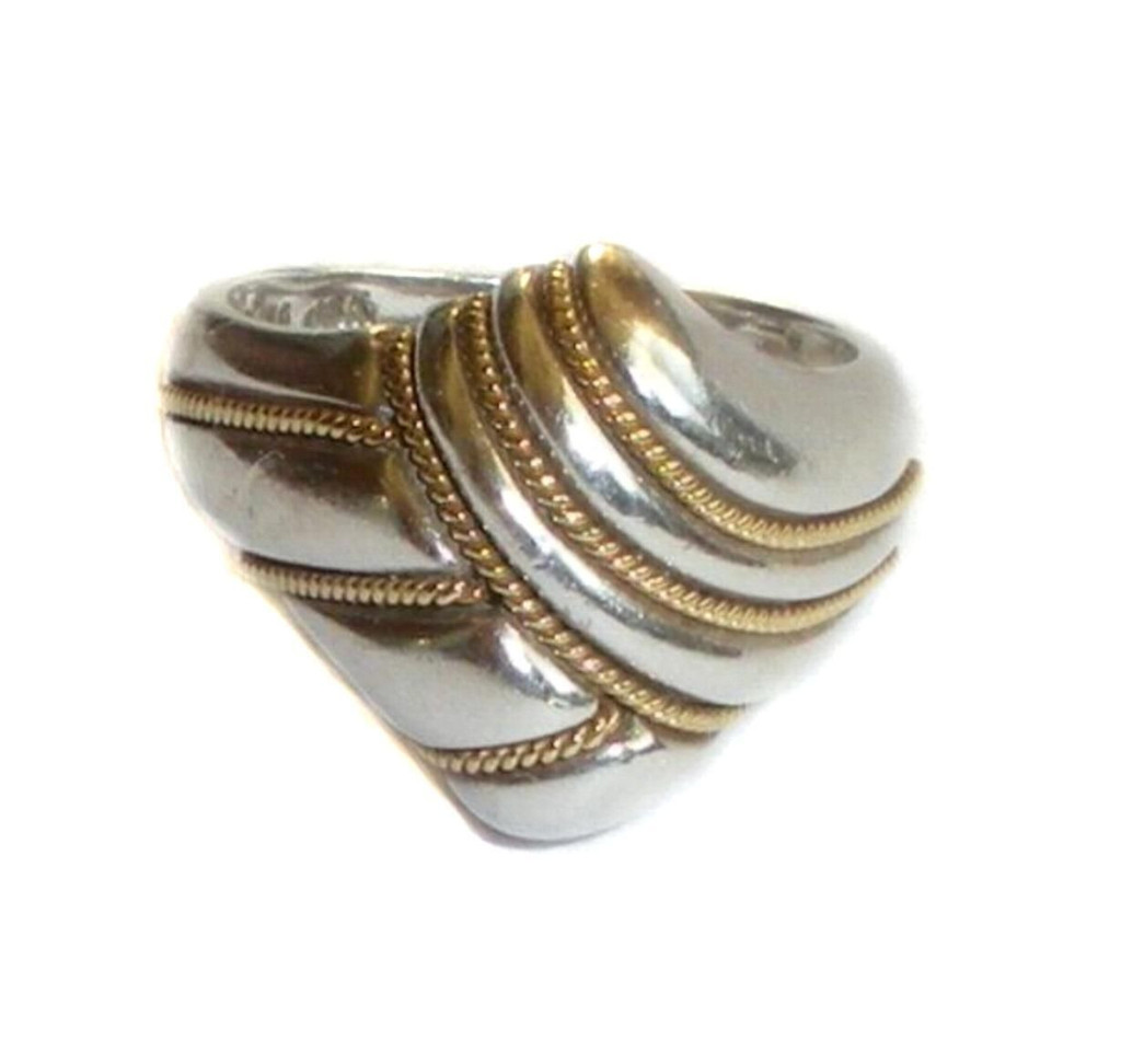 Sterling Silver And 18k Yellow Gold Wrap Crossover Cable Ring Size 6.5