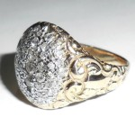 Antique Victorian Art Nouveau Repoussed 14k Gold .7 Ct Diamond Ring Mens Womens 9.25