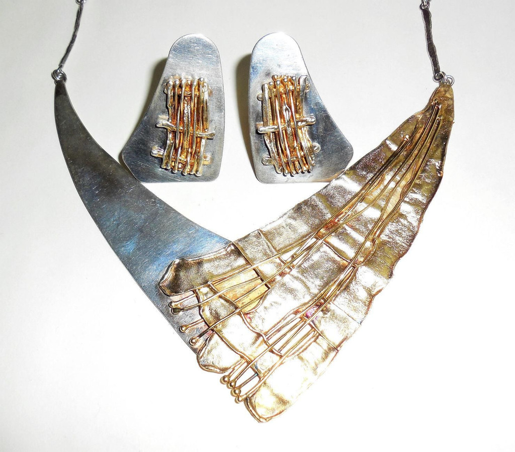 Sterling Silver And Gold Avi Soffer Bib Necklace And Earrings Set Israel