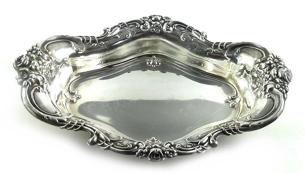Pair Vintage Wallace Sterling Silver 6.5 Inch Serving Trays Nut Pickle Candy No Monogram