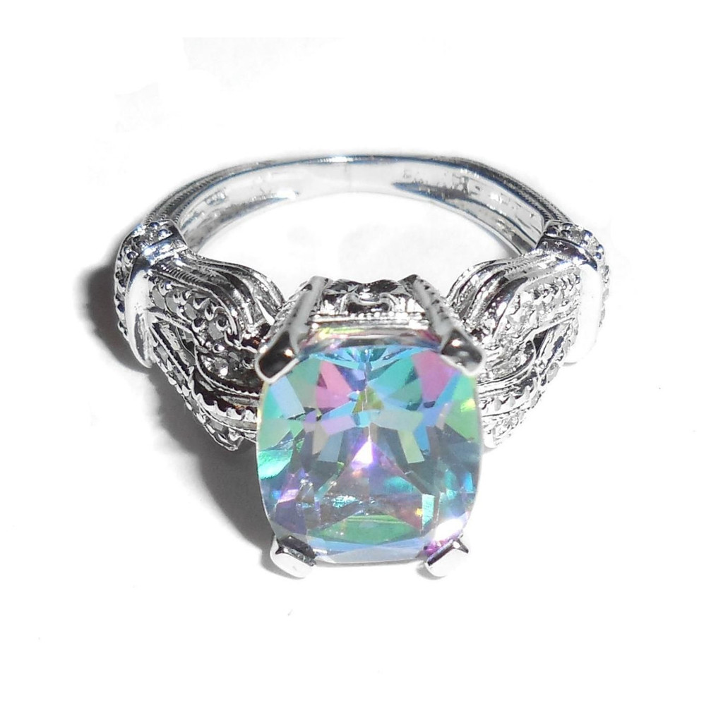 14k White Gold Brazilian Rainbow Mystic Topaz Diamond Buckle Setting Ring Size 5