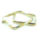 Big Italian Boxy Square 2 Tone 14K Gold Hoop Earrings