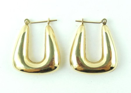 14K Gold Trapezoid Huggie Earrings Size M