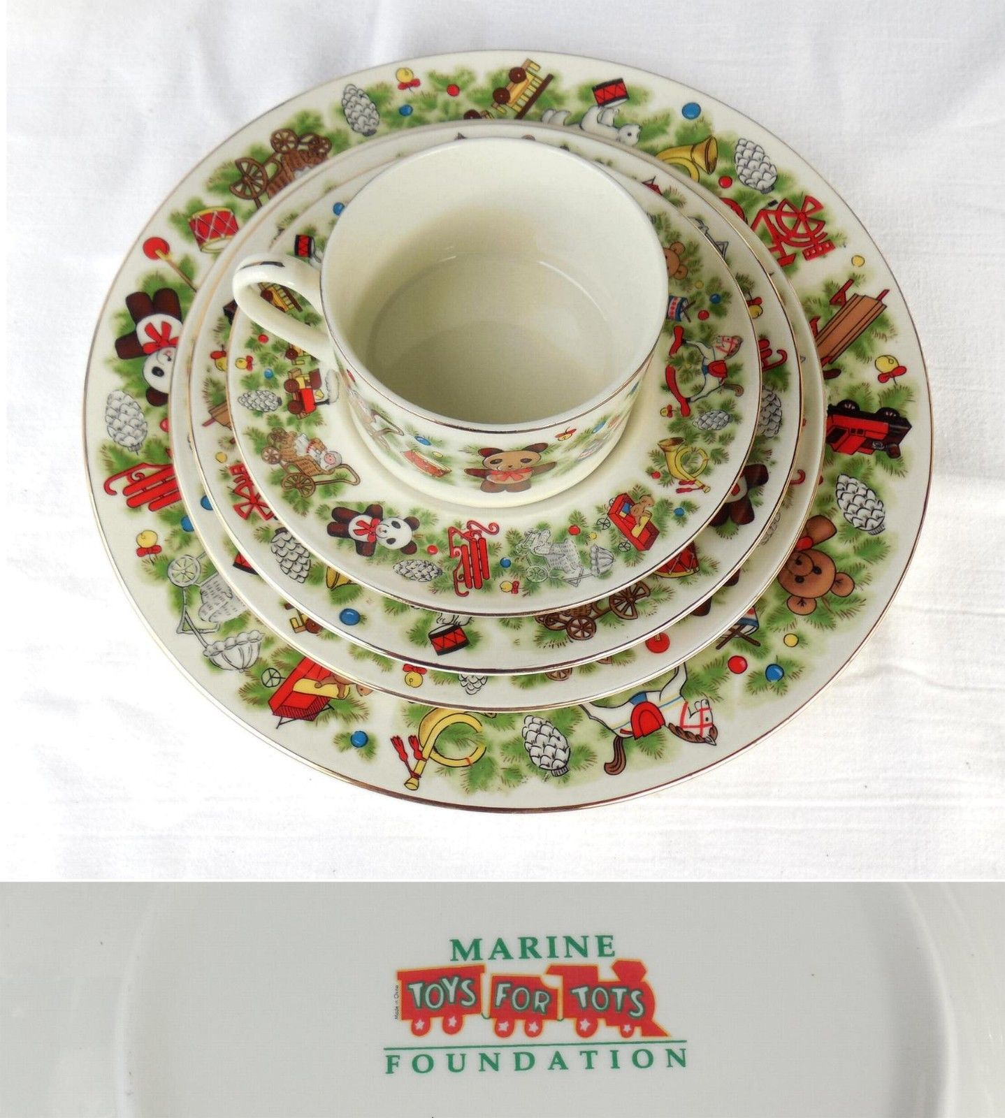 Marine Toys For Tots : Retired pc marine toys for tots k fine china service set
