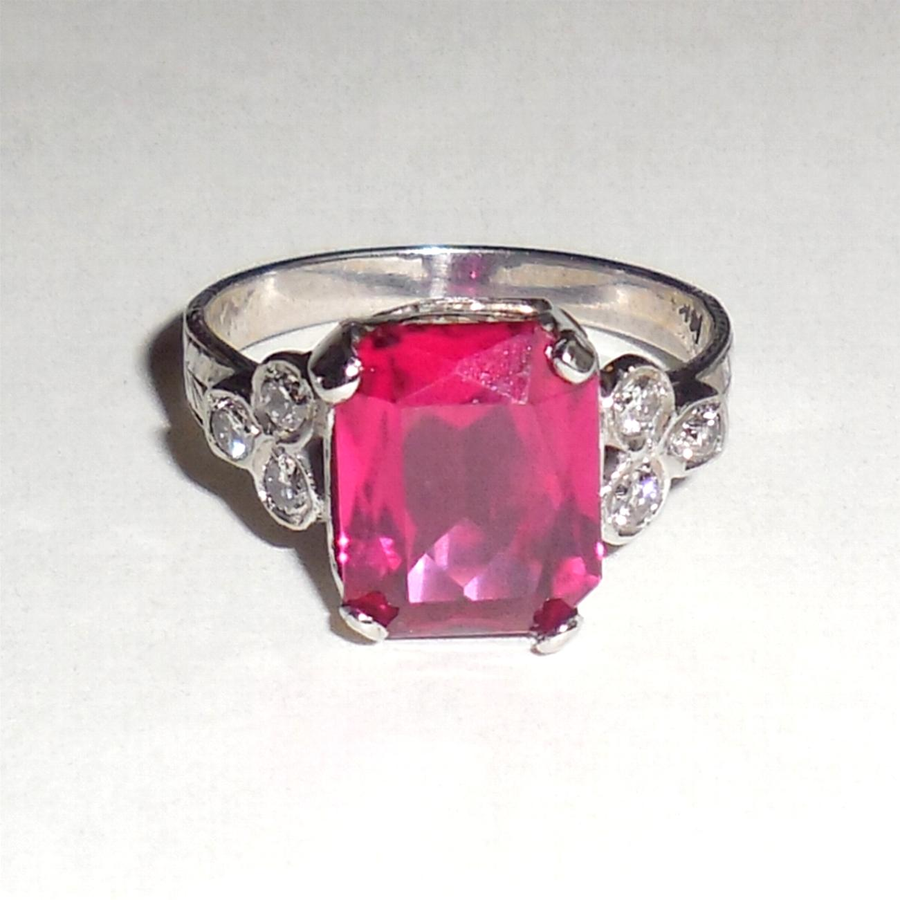 Art Deco 14K White Gold Diamond Synthetic Ruby Ring 5.75