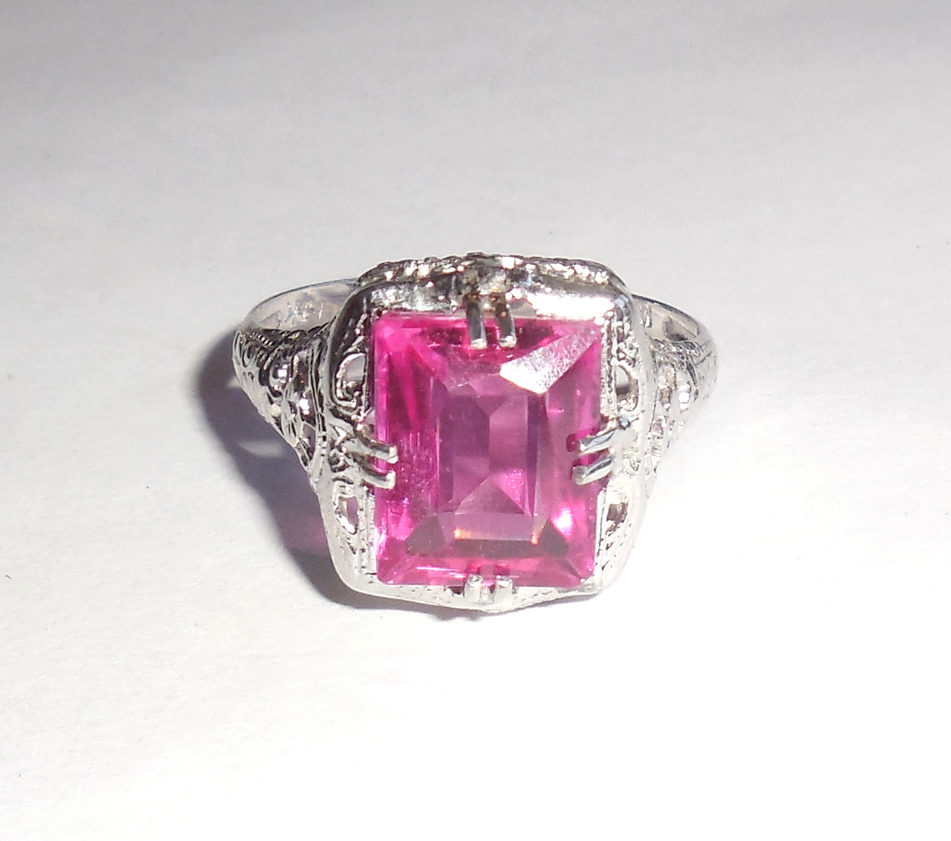 Vintage Art Deco 14K White Gold Fancy Filigree Rubellite Pink ...